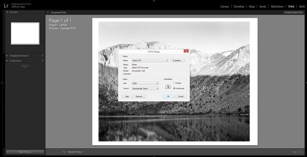 Defining page size in Adobe Lightroom