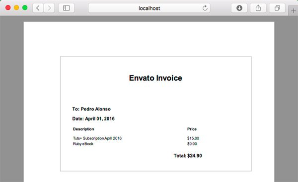 Invoice view PDF dynamically generated