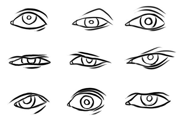 eye sketches showing different emotions