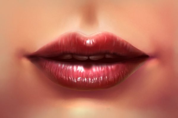 Blending the mouth with the skin - painting the lips corners