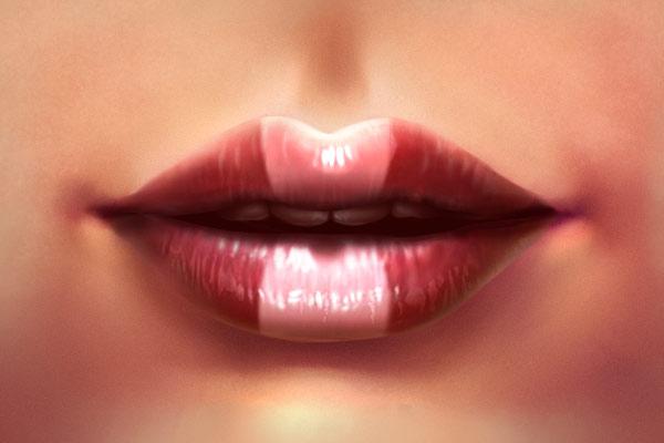 Adding lips makeup