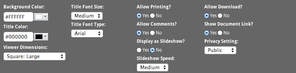 Prizm document share customization options