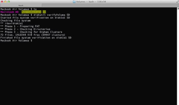 Verifying a Disk via Terminal in OSX