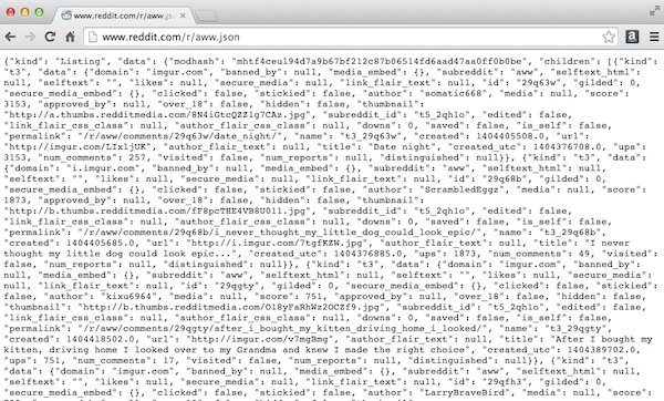 The Reddit JSON feed of raww