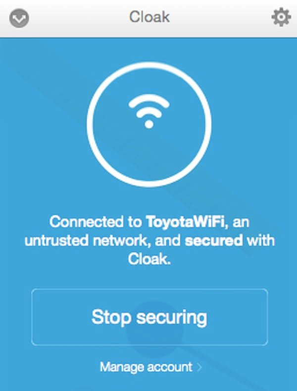 A public Wifi hotspot with Cloak VPN enabled