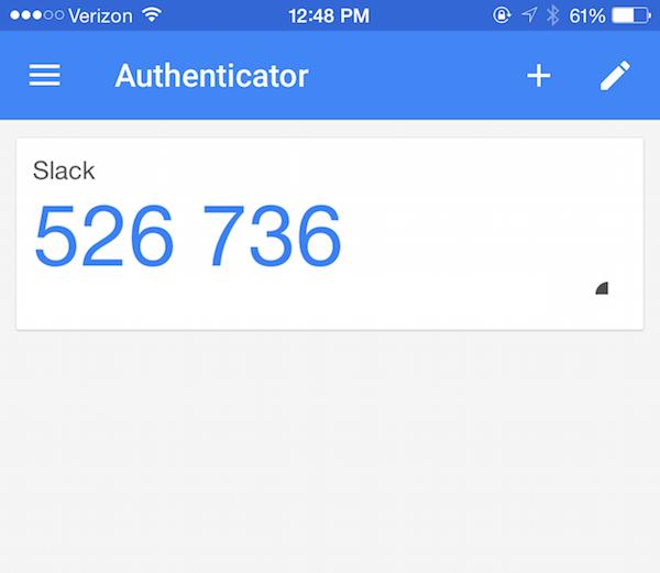 A 2FA code in Google Authenticator