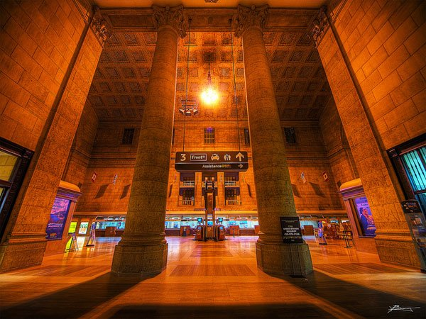 Toronto Union Station cast in brown light