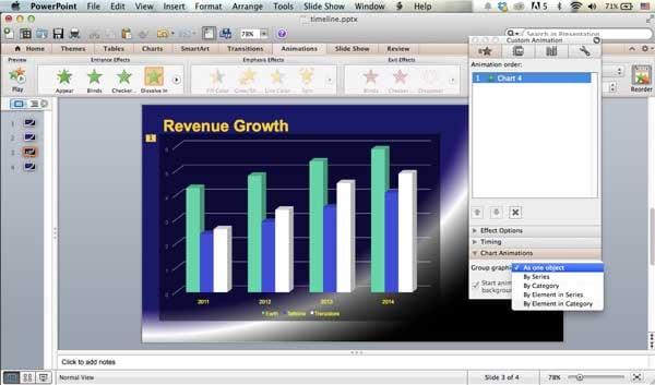chart animation options on the Macintosh
