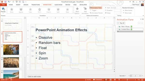 Animation Pane in the Animations tab