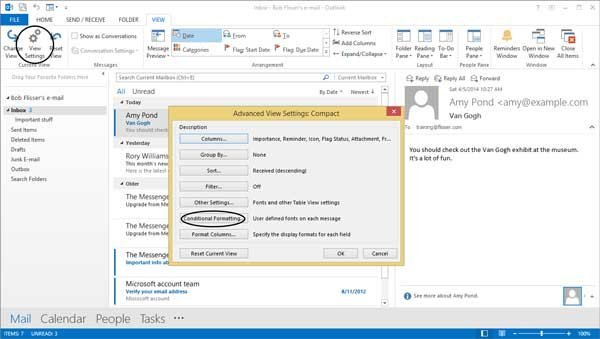 View Settings dialog with Conditional Formatting button highlighted