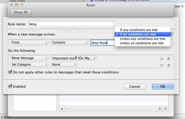 Rules settings dialog on the Mac