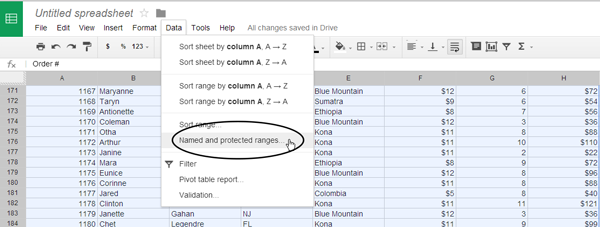Data menu in Google Sheets