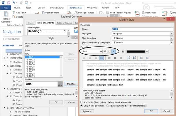 Edit Styles dialog for changing heading appearance