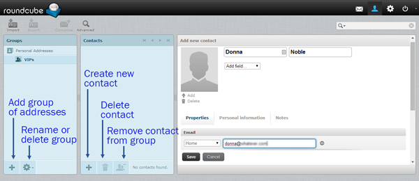 buttons for creating contacts