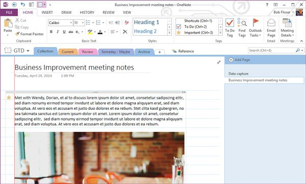 typed meeting notes and a picture