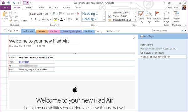 onenote with email message inserted