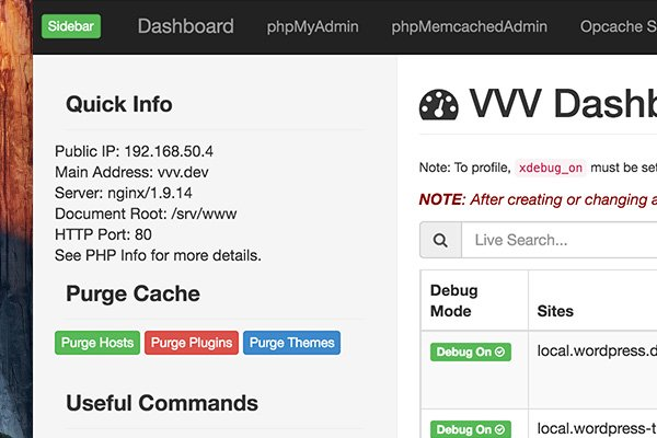 Sidebar of the new VVV dashboard