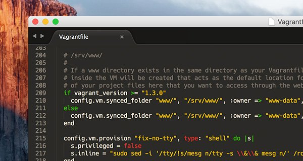 Vagrantfile source code defining the www folder map to the Virtual Machine