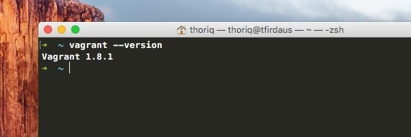 Vagrant command in OSX Terminal