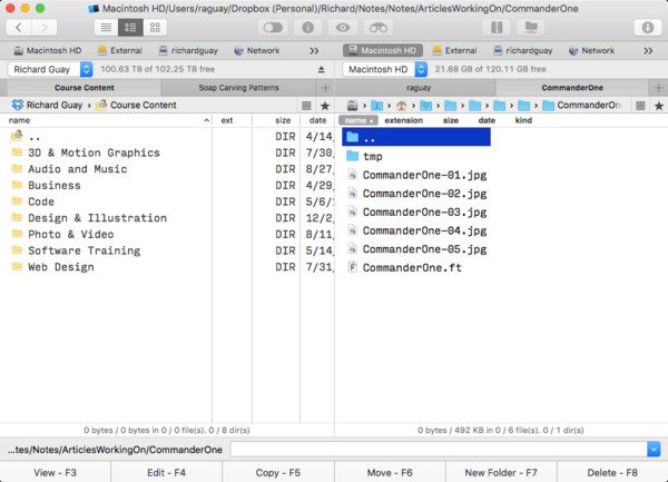 Viewing Dropbox in Commander One