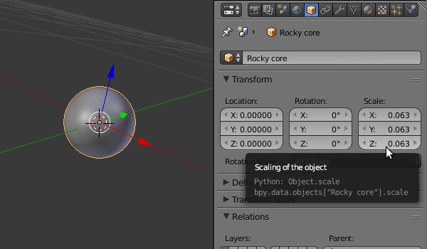 Scaled Blender UV sphere