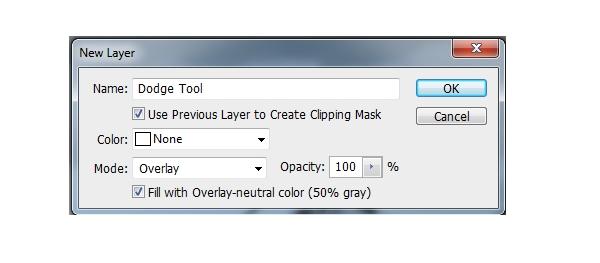 dodge tool new layer