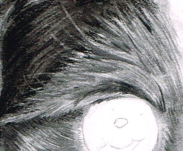 Return to the use of your Tombow erasers to draw out light tones around the eyes