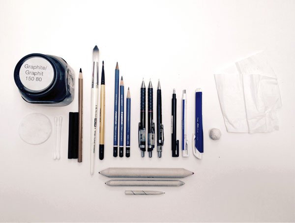 A selection of the tools that you will need for rendering this image