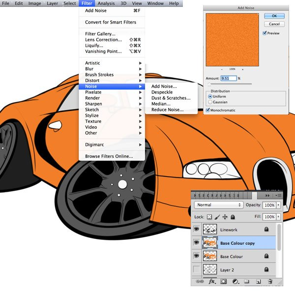 Using the noise filter on a duplicate of our base colour layer we can create a metallic effect that would be ideal for this type of sports car