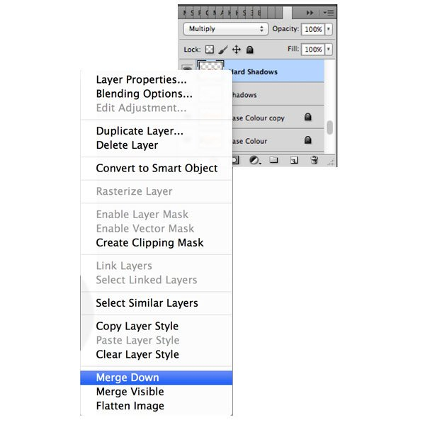 Once you have your shadows complete you need to merge your layers