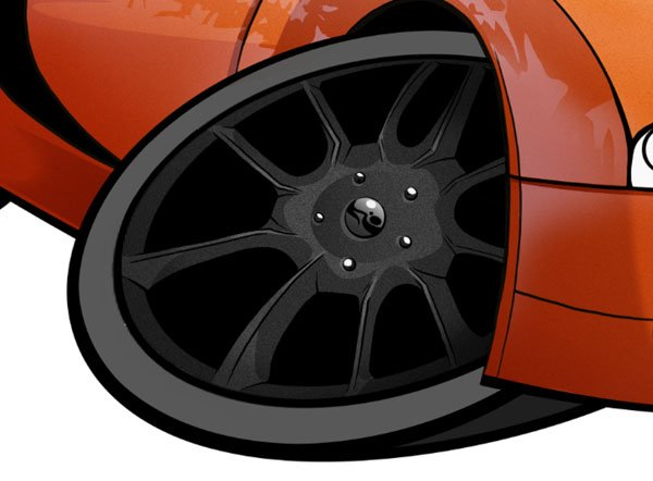 To give the impression of a sharp cut on our wheels you will need to fill some parts with shadow Selecting these areas is tricky but will be worthwhile