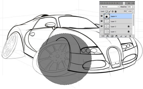 Creating the wheels of car begins with a simple ellipse