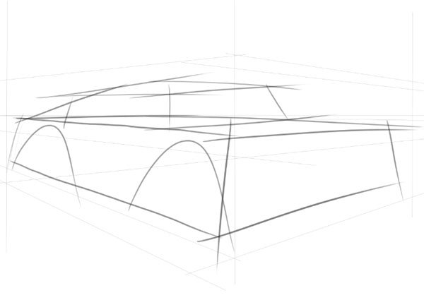 Now we start building up the coupe body and note how already sweeping lines are helping to build the car