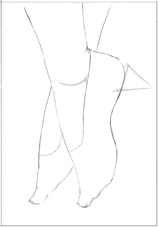 Still using simple lines and shapes begin drawing in the slippers