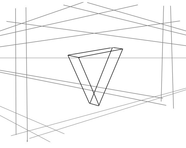 Begin your bike frame by drawing a simple 3D triangle