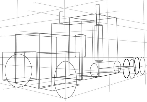 We will also draw in guides for the inner rear wheels