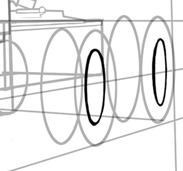 Perspective will hide a lot of the details in the rear wheels