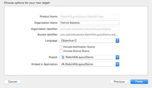 WatchKit App target options