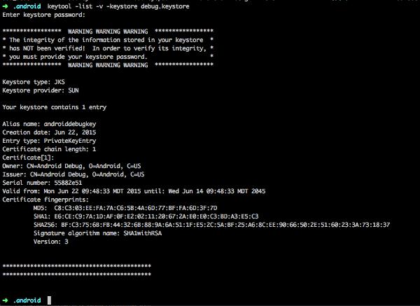 Screenshot of a terminal output when getting an SHA1 key from a keystore