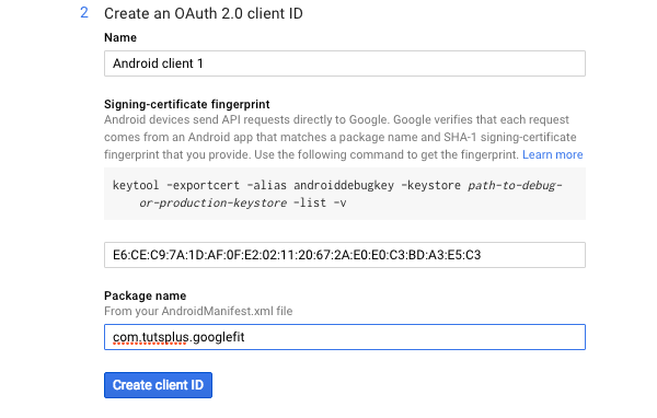 Creating an OAuth 20 Client ID