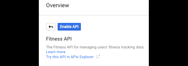 Enable API Button for Fitness API