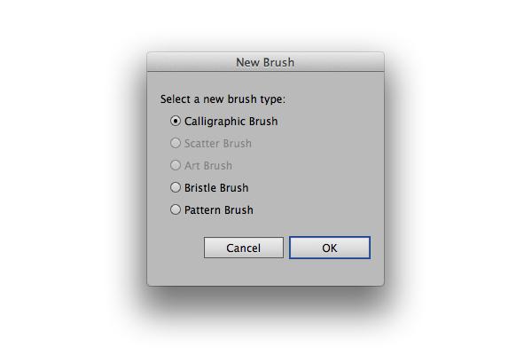 The Adobe Illustrator New Brush Panel