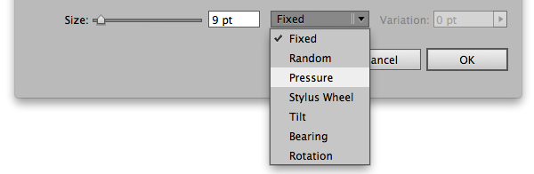 How to set a brush to have pressure sensitivity in Adobe Illustrator