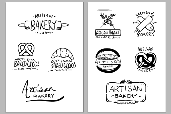 Sketching out logo designs in Adobe Illustrator with a Wacom tablet