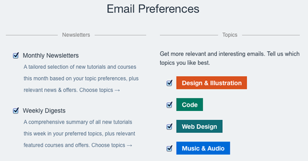 New Email Preference Settings on Tuts