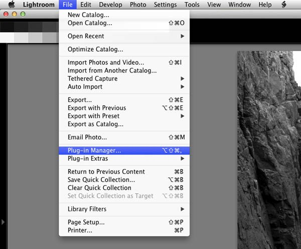 lightroom plugin manager menu