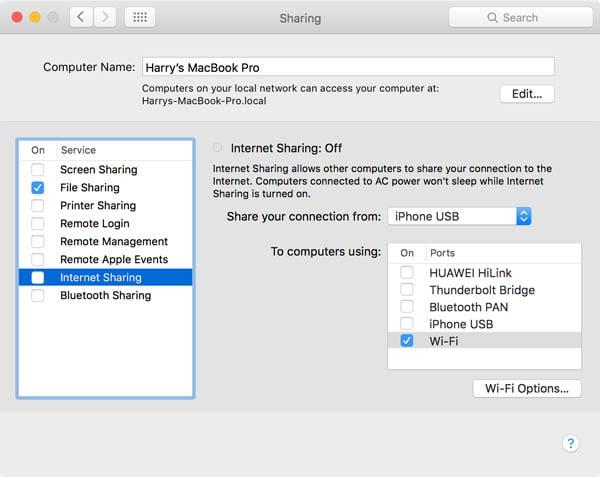 setting up sharing