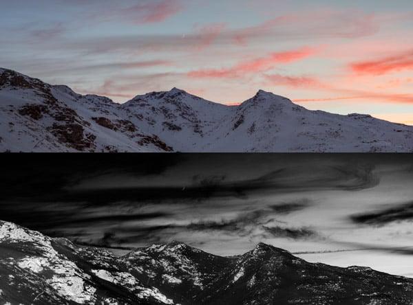 mountains solarised