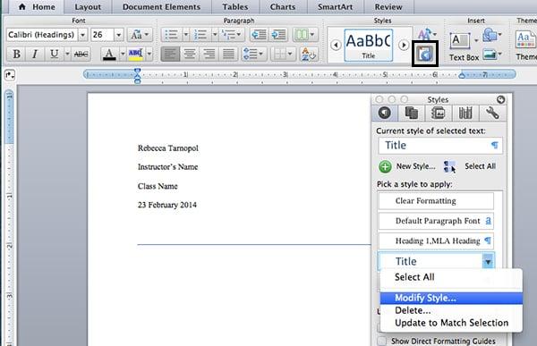 Modify title settings in Microsoft Word