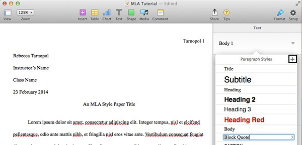 Add paragraph style in Pages